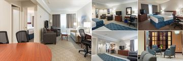 Capital Hill Hotel & Suites, (clockwise from left): Executive Suite, Double Queen, Queen Room, Hotel Lobby and King Room