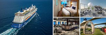 Celebrity Equinox; Aerial view, Veranda State Room, Retreat Sundeck, Passport Bar, The Lawn Club