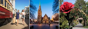 Tramway, Cathedral Square & Botanical Gardens in Christchurch, Canterbury