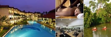 Club Hotel Dolphin, Waikkal, Hotel Pool and Flippers Bar at Night, Spa Hot Stone Therapy, Kayaking and Gym