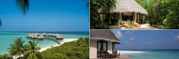 Coco Palm Dhuni Kolhu, (clockwise from left):  Lagoon Villas, Deluxe Villa and Ocean Front Villa