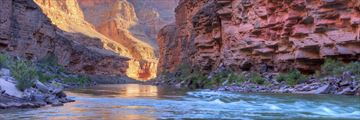 The Colorado River flowing through the Grand Canyon