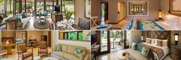 Constance Lemuria, (clockwise from top left): Pool Villa, Junior Suite, Senior Suite Bedroom and Living Room