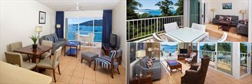 Dual Key Apartment, Beach House Apartment and One Bedroom Penthouse Living Areas at Coral Sea Resort