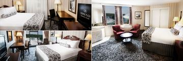 Crowne Plaza Fallsview, (clockwise from top left): Traditional Guest Room Queen Bed, Superior Fallsview One King Jacuzzi Room and Superior Fallsview One Queen Bed