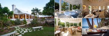 Curtain Bluff, (clockwise from left): Tamarind Tree Restaurant Exterior, Tamarind Tree Interior, Sugar Reef Bar, Light Snack on the Beach and Afternoon Tea on the Sugar Reef Terrace