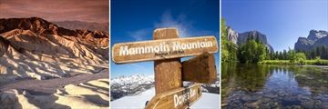 Death Valley, Mammoth Lakes Mountain summit, and El Capitan in Yosemite National Park