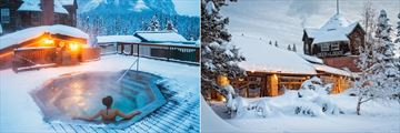 Hot Tub and Hotel Exterior in Winter at Deer Lodge