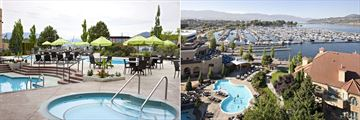 Outdoor Pool and Aerial View of the Outdoor Pool and Terrace at Delta Grand Okanagan Resort