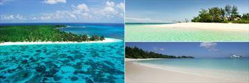 Denis Island aerial view & beaches