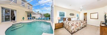 Disney Area Executive Homes - Examples of private pool and bedroom