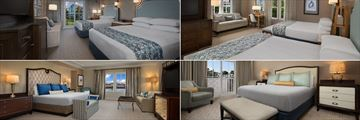 Disney's Yacht & Beach Club Resorts, Beach Club Rooms (clockwise from top left): Standard View Room, Deluxe Room, Nantucket VP Suite and Newport Presidential Suite