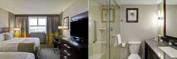 Two Queen Guestroom and Bathroom at Doubletree by Hilton Hotel Kamloops