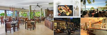 DoubleTree by Hilton Seychelles Allamanda Resort & Spa, (clockwise from left): Les Palms Restaurant, Seafood Dish, Ocean View Bar Terrace, Ocean View Bar Interior and Ocean View Bar at Night