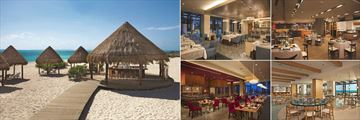 Dreams Playa Mujeres Golf & Spa Resort, (clockwise from left): The Sand Bar, L'Etiole, Gaucho Grill, Maris and Fusion