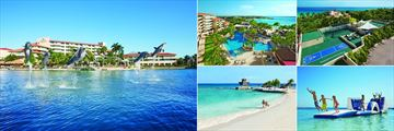 Dreams Puerto Aventuras Resort & Spa, (clockwise from left): Dolphin Dreams by Dolphin Discovery, Main Pool, Core Zone, Ocean Trampoline and the Beach