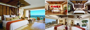 Dreams Riviera Cancun Resort & Spa, (clockwise from left): Honeymoon Ocean Front Suite, Presidential Suite, Premium Deluxe Room, Preferred Club with Plunge Pool and Preferred Club Ocean View Room