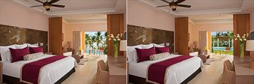 Deluxe Partial Ocean View and Deluxe Swim Out Room at Dreams Royal Beach Punta Cana