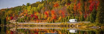 Driving past the Lake of Two Rivers, Algonquin Provincial Park