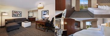Suite Living Room, King Suite and Double Queen Suite at Embassy Suites by Hilton Anaheim