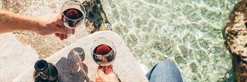 Enjoying wine by the coast in Croatia
