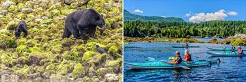 Bear watching in Tofino (left) and kayaking in British Columbia (right)