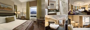 Fairmont Banff Springs, (clockwise from left): Fairmont Gold Mountain View Room, Bathroom, Signature Mountain View Room and Deluxe King Room