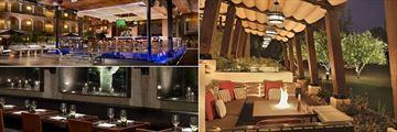 Fairmont Scottsdale Princess, The Plaza Bar, Bourbon Steak Restaurant Fire Pits and Bourbon Steak Restaurant Interior