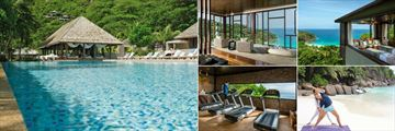 Four Seasons Resort Seychelles, Pool, Spa Relaxation Room, Spa Couples Treatment Room, Yoga and Surfing and Fitness Centre