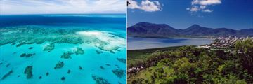 Great Barrier Reef (left), and Cairns (right)