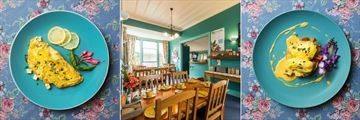 Great Ponsonby Bed & Breakfast, Omelette wth Feta Cheese and Lemon Zest, Breakfast Area and Eggs Benedict with Bacon