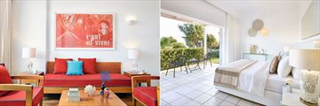Double Room living area and Superior Bungalow Poolside at Grecotel LUX ME Dama Dama