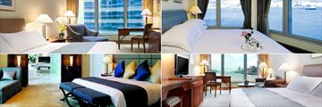Harbour Grand Kowloon, (clockwise from top left): Courtview Room, Captain Suite, Harbour View Room and Presidential Suite