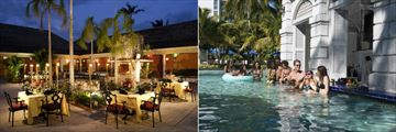 Hilton Rose Hall Resort & Spa, Three Palms Restaurant and Sugar Mill Falls Swim Up Bar