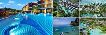 Holiday Inn Resort, Krabi, (clockwise from left): Family Wing Pool, Aerial View of Resort, Pools and Beach