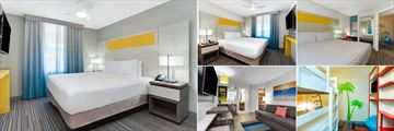 Holiday Inn Resort Suites & Waterpark, (clockwise from top left): King Guest Room, Queen Suite, Two Bedroom Suite Master, Two Bedroom Suite with Bunk Beds and Family Suite Living Area