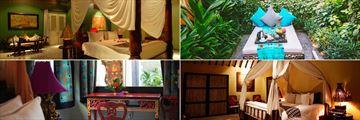 Clockwise from top left: Bhagavat Gita Suite, Aloon Aloon Villa, Kampgon Lombok Bungalow and Kampong Ampenan Bungalow at Hotel Tugu Lombok