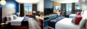 Hotel Zephyr San Francisco, Partial Bay View Deluxe Room King and Premium Waterfront Room Two Doubles