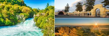 Huka Falls, Napier Architecture & Sunrise over Te Mata Peak