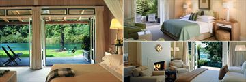 Huka Lodge, (clockwise from left): Junior Lodge Suite, Alan Pye Cottage and Owner's Cottage Bedrooms