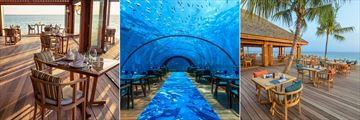Hurawalhi Island Resort, Aquarium Restaurant, 5/8 Undersea Restaurant and Canneli Restaurant