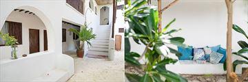 Guesthouse Exterior and Seating Area at Indigo Beach Zanzibar