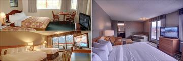Inns of Banff, (clockwise from top left): Standard Room, Junior Suite with Jacuzzi and Superior Room Mountain View