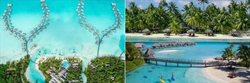Intercontinental Bora Bora Resort Thalasso Spa, Aerial View of Resort, Beach and Standup Paddle Boarders in Coral Garden