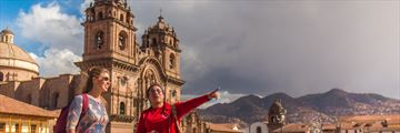 Teenager exploring Cusco's Plaza de Armas. Copyright: Intrepid.