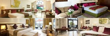 JA Palm Tree Court Hotel, (clockwise from top left): Garden View Junior Suite, Palm Tree Court Suite, Royal Jasmine Junior Suite and The Residence One Bedroom Suite