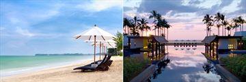 The beach and infinity pool at JW Marriott Khao Lak