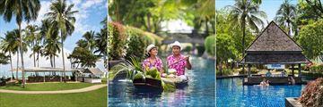 The Beach Bar, coconut boats and Aquamarine Pool Bar at JW Marriott Khao Lak