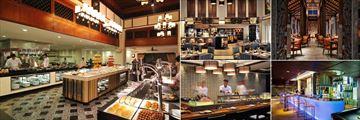 JW Marriott Phuket Resort & Spa, (clockwise from left): Marriott Cafe, Cucina Restaurant, Ginja Restaurant, Out Of The Blue Bar and Kabuki Restaurant
