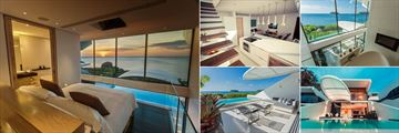 Kata Rocks, (clockwise from left): One Bedroom Ocean Pool Loft Bedroom, Kitchen and Living Area, Bathroom, Loft at Sunset, Terrace and Pool